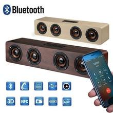 20W Wooden Speaker Wireless Bluetooth Speaker Outdoor Portable Column Stereo Bass Soundbar Subwoofer for Computer TV Support FM цена и фото