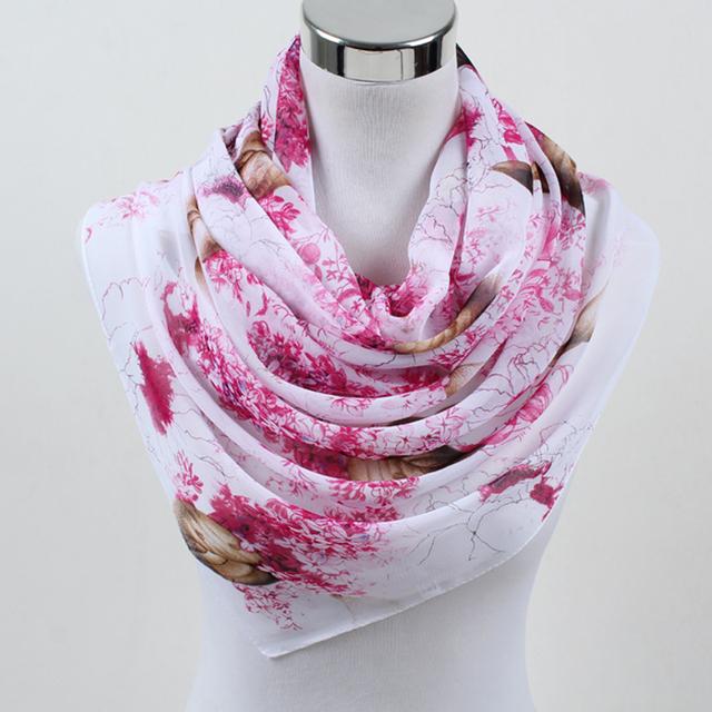 Chiffon Silk Printed Flowers Women Polyester Scarves