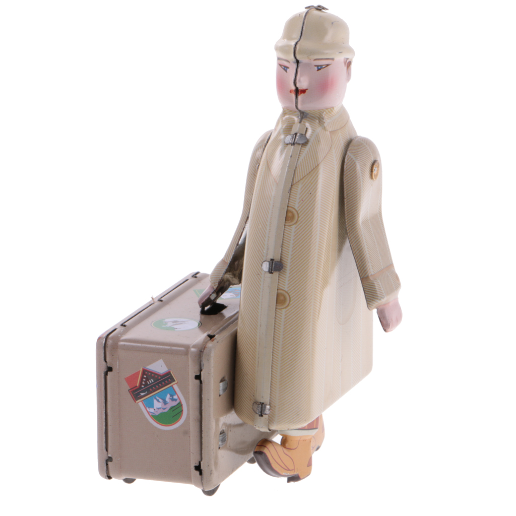 Hot Sale Tin Toy Vintage Traveller Passenger with Suitcase Model Wind up Clockwork Classic Toys for Kids Girl Gift Collectable