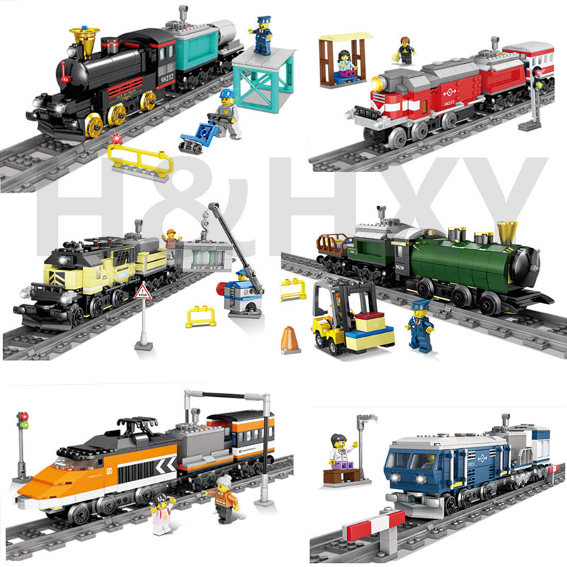 DHL IN STOCK H&HXY 98230-98235 02010 21005 <font><b>21006</b></font> 02039 02117 02118 Battery Powered Trains Building Block Sets model Toys gifts image