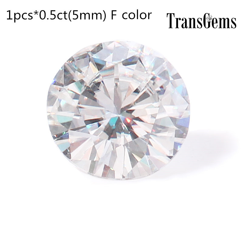 Transgems Moissanite-Beads Diamond Jewelry-Making Loose-Stone 5MM For Equivalent Weight-0.5ct