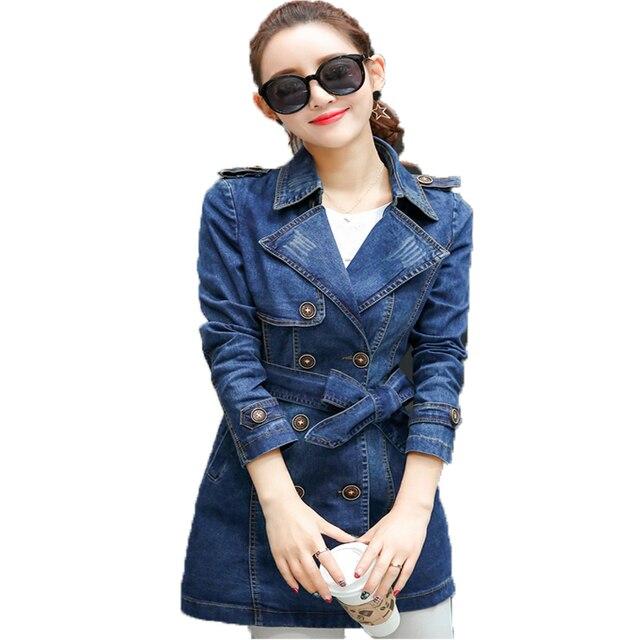2017 New Women Jeans Trench Coat Casaco Feminino Autumn Long Sleeve Slim Double-breasted Medium Long Female Denim Windbreaker