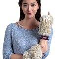 URSFUR женская Крючком Вязать Меха Кролика Длинные Перчатки Без Пальцев с Большим Пальцем Отверстие Высокой плотности половины Пальцев с эластичной сеткой