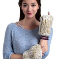 URSFUR Women's Crochet Knit Rabbit Fur Long Fingerless Gloves with Thumb Hole High density  half Finger with elastic net