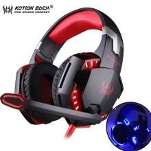 KOTION EACH Gaming Headset Game Headphhones 3.5mm Earphone Gamer Stereo bass Headphone With Microphone Led For Computer PC цена и фото