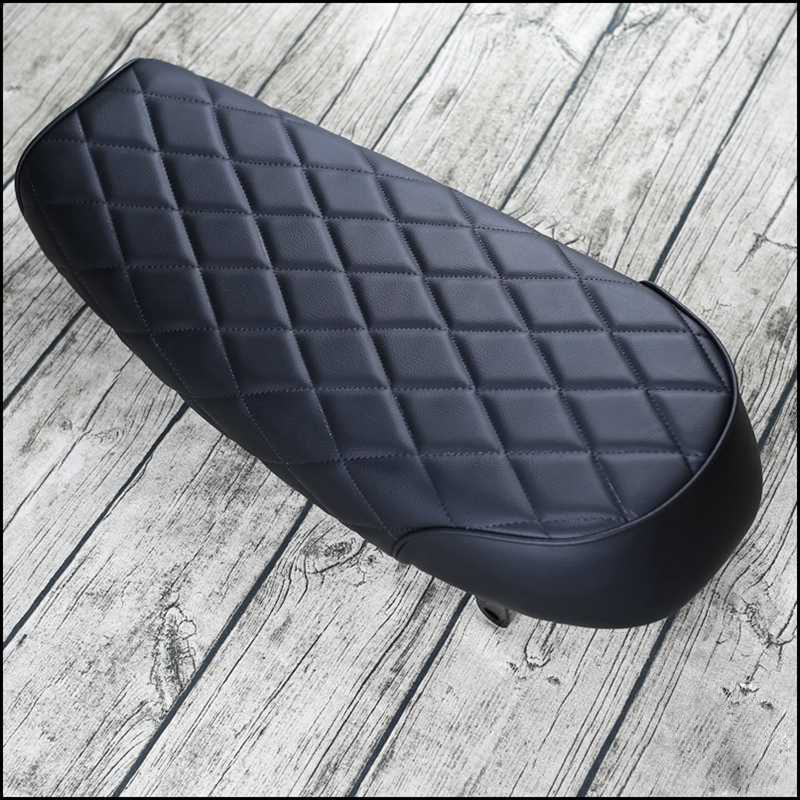 Matte Black Motorcycle Cafe Racer Seat Diamond Scrambler Vintage Flat Retro Saddle 63cm Mayitr