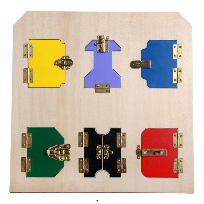 45X45 cm En Bois Montessori Jouets Bébé Carte De la Serrure Exercices Éducatifs Apprentissage Jouets Pour Filles Cadeau D'anniversaire E2364