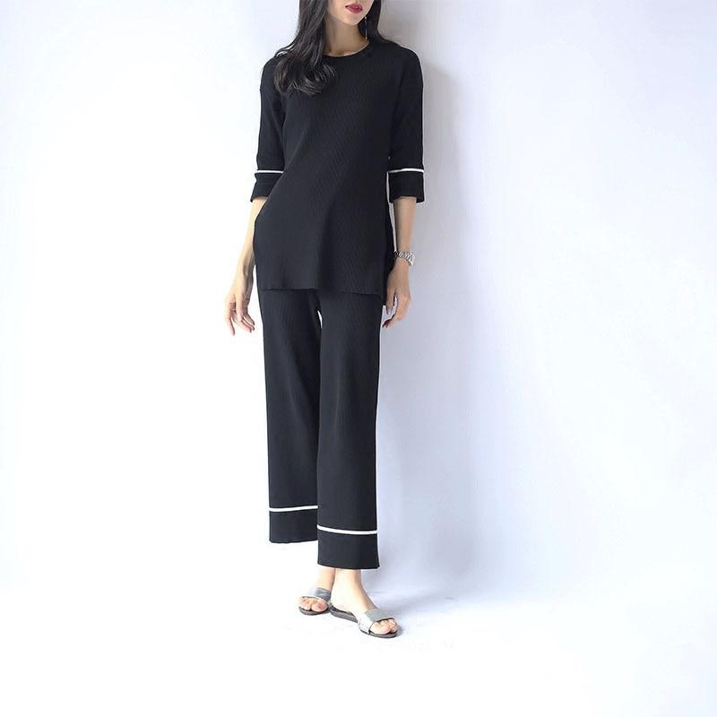 Neuf Et Kaki 2018 Pantalon Femmes Split Large Costumes pull Hit pièce marron noir Côté Transporté Couleur Deux Chandail Pulls Tricot Poncho D'urgence Jambe Femelle 1qt6wqF