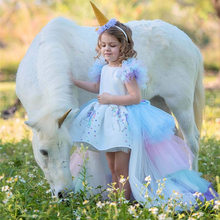 Fancy Unicorn Dress Girls Backless Detachable Long Tail Ball Gown Kids Princess Party Child Prom Birthday Costume