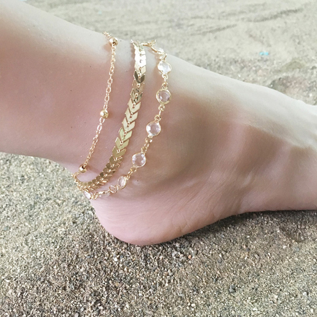 63fad6a1872 3Pcs Set Crystal Sequins Vintage Anklet Set For Women Beach Foot jewelry  Statement Anklets Boho Style Party Summer Jewelry Gift