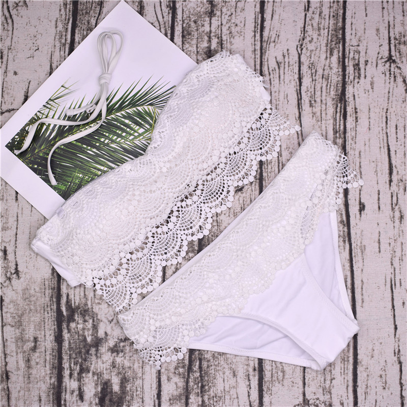 4b98a98adc46 Mulheres verão Sexy Lace Cover Up Swimwear Biquíni Branco de Renda ...