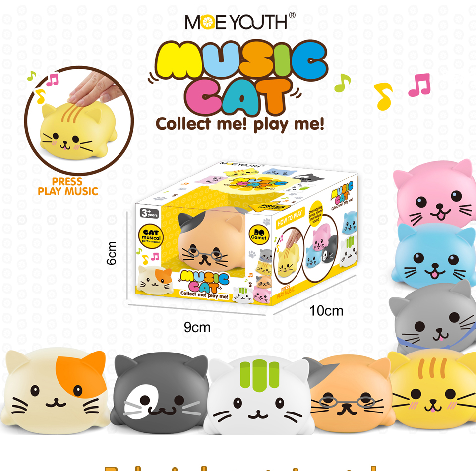 8PCS/set Kawaii Squishy Cat/Dog Electric Musical Instrument Toys Set Stress Relief Squeeze Anti Stress LED Toy Creative Gifts цена