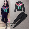 2017 winter/fall designer G brand Women runway 2pcs set leisure suit peacock sequin luxury cc sweatshirt+jogger Pants tracksuit