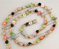 Free Shipping 1 Yard Pack Colorful Stone Flower Crystal Chains In Gold Tone Rhinestone Trimmings For