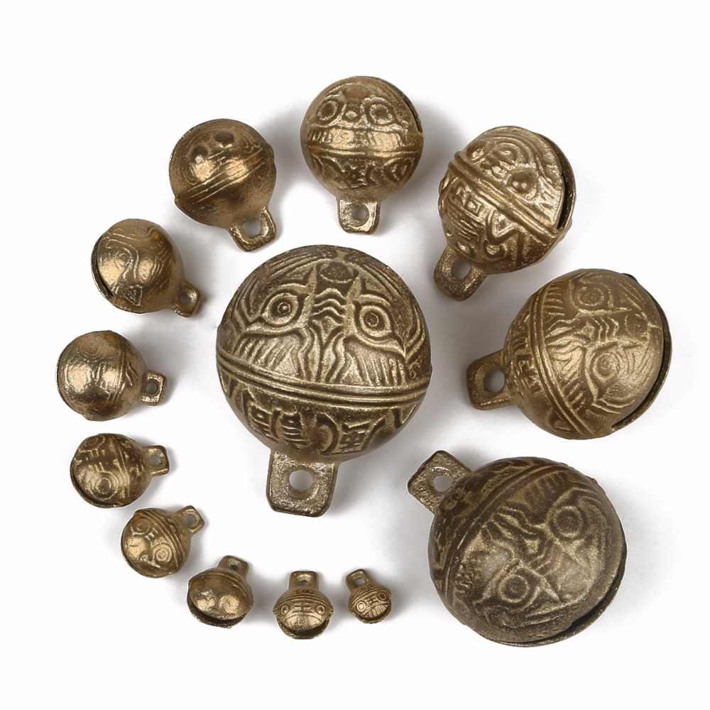 6 XL LARGE Brass Tiger Head Jingle Bell Wind Chime Tibetan Nepal Tribal Cow Windchime Vintage Boho Bohemian Gypsy Ethnic Charm Pendant brush