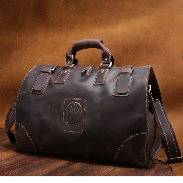 93370cb7546a TIDING Men Travel Bag Large Capacity Luggage   Travel Duffle Wild Style  Real Leather Vintage Style