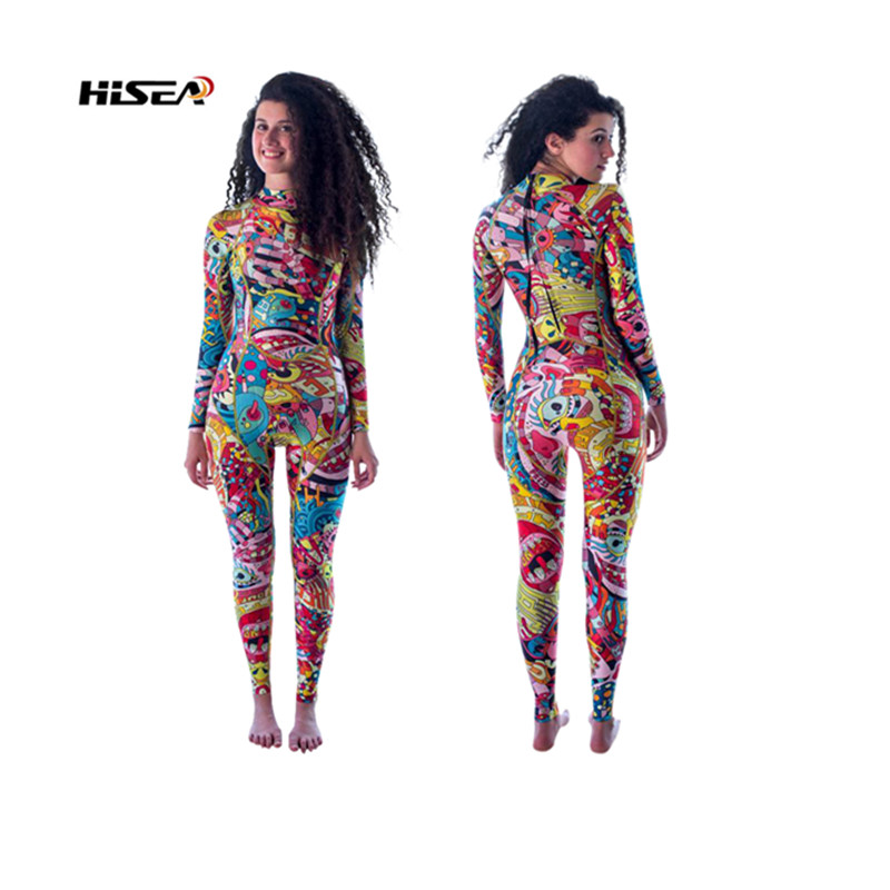 HISEA 3mm Neoprene Thick Women Long-Sleeved Wetsuit Individuality Printing Surf Clothingfall And Winter Swimsuit