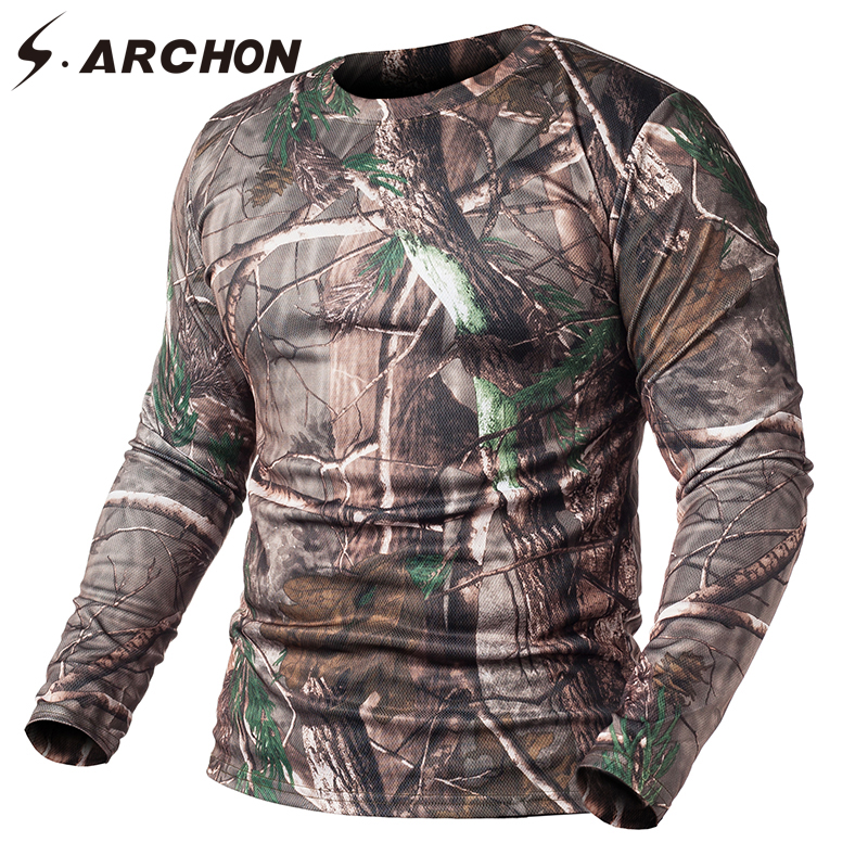 S.ARCHON Spring Tactical Camouflage Long Sleeve   T     Shirts   Men Military Quick Dry O Neck Combat   T     Shirt   Multicam Camo Army   Shirts