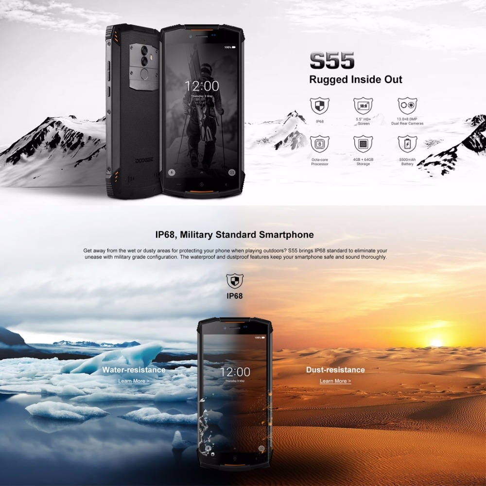 Image 2 - DOOGEE S55 Waterproof Smartphone 4GB RAM 64GB ROM 5500mAh MTK6750T Octa Core 5.5 inch Android 8.0 Dual SIM 13.0MP OTA 4G FDD LTE-in Cellphones from Cellphones & Telecommunications