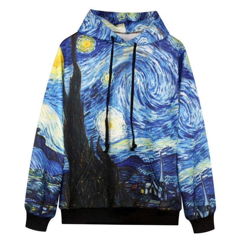 Cool Sweatshirt Women Hooded 3d Print Van Gogh Oil