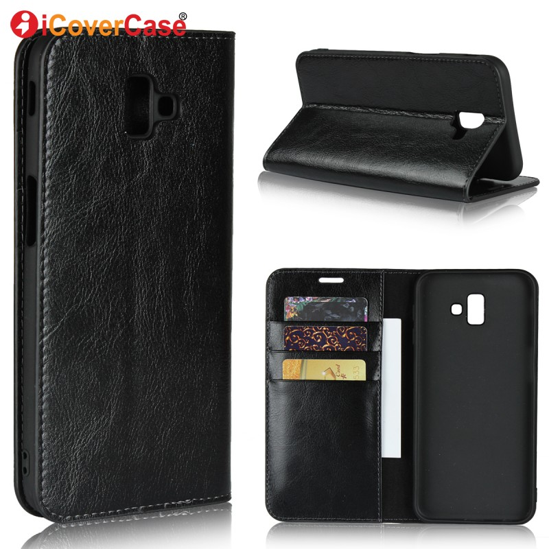 J6 Plus Case Cover For Samsung Galaxy J6 2018 Cases Phone Accessory Luxury Genuine Leather Wallet for Samsung J6+ J6 + Coque