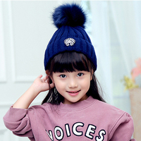 New Winter Baby Knitted Wool Hat Caps For Girls Toddler Crochet Beanies Fur Ball Cute Baby
