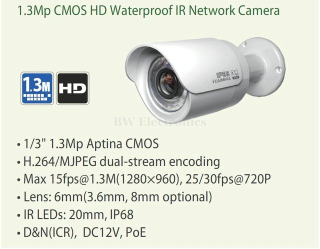 1.3Mp CMOS HD Network Water-proof IR Mini Network Bullet Camera, 720P IP CAMERA IPC-HFW2100 Support POE