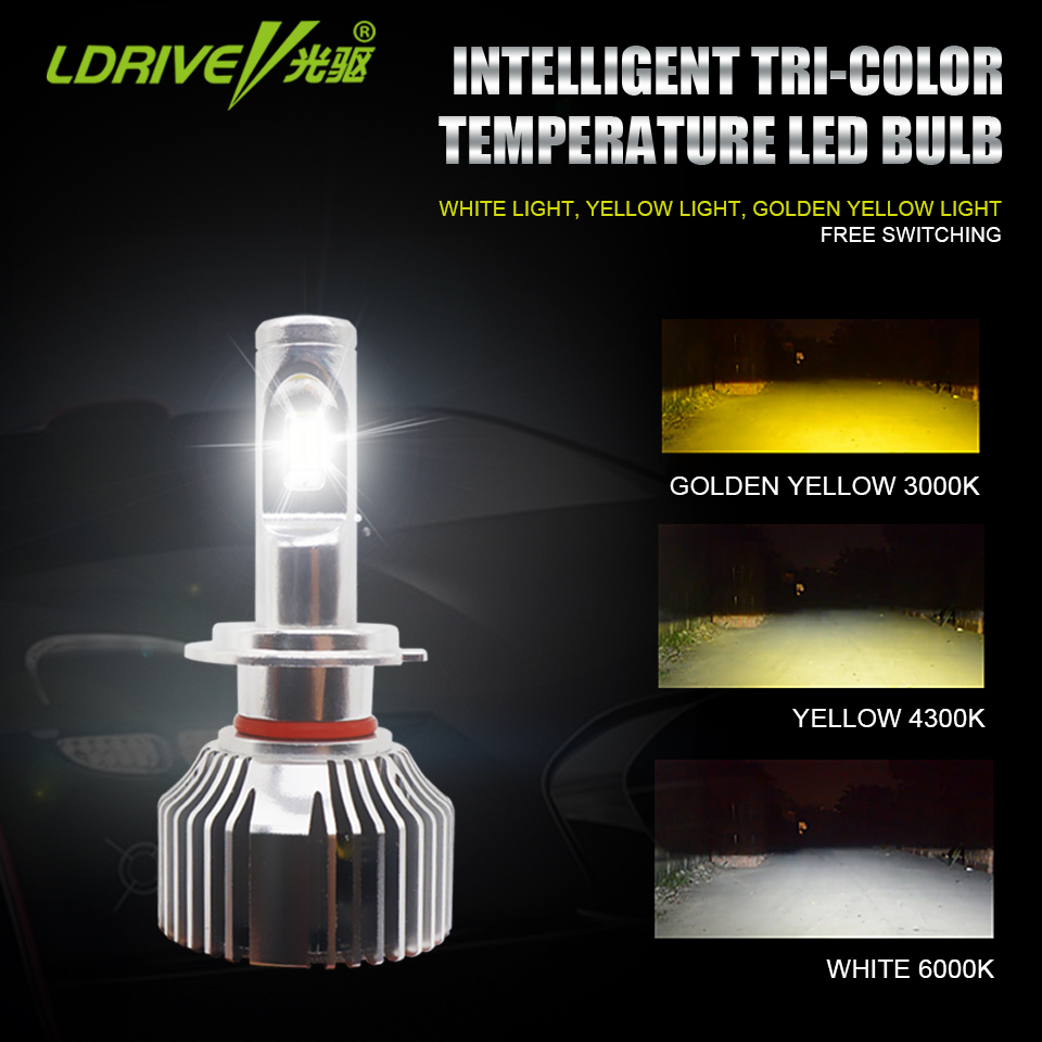LDRIVE 1 Pair Yellow Warm White LED Light Bulb H7 H8 H9 H11 9005 HB3 9006 HB4 Auto LED Headlight Bulb 12V 3000K 4300K 6000K stylish rose leaf tassel voile scarf