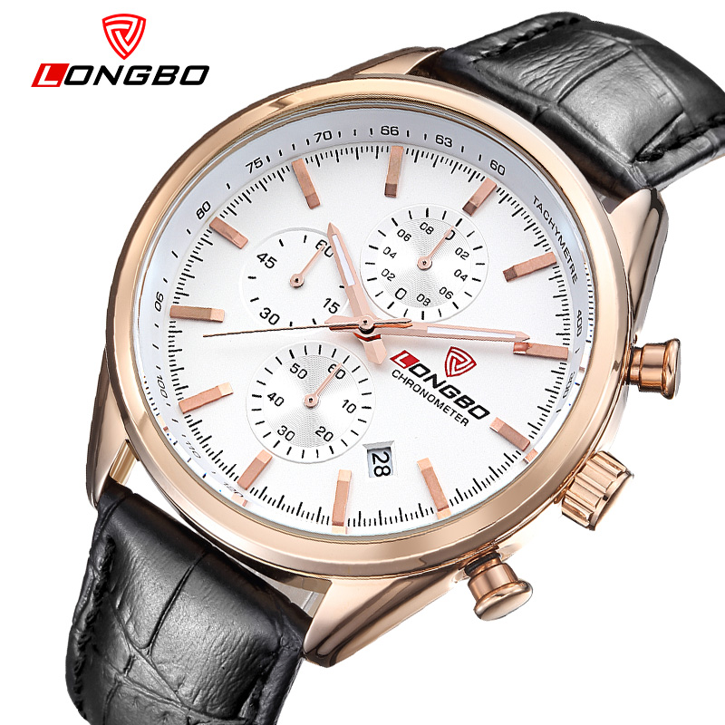 LONGBO Sports 6pin watch male luminous calendar stainless steel wristwatches waterproof large dial quartz watches 80179