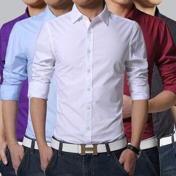 00614d4213d3 Camisa de los hombres Streetwear camisas casuales de Camicia Uomo Slim  Overhemd hombres vestir camisas de