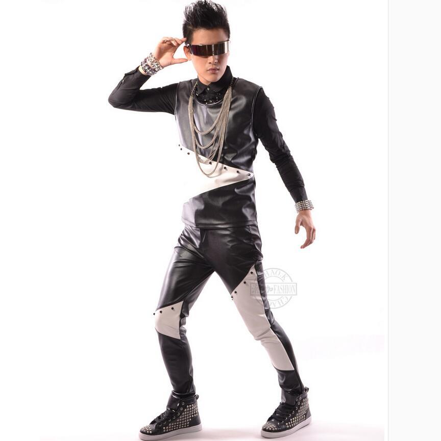 L'europe Noir Et noir États Décontractés Chanteur hop s Blanc unis Vêtements Rivets Taille bleu Pu Coutures En Dj Beige 5xl Cuir Hommes Hip Les Grande YqYfr