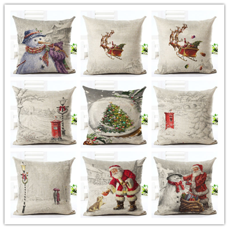 2016 newest home decor cushion cover white snow christmas for Christmas home decor 2016