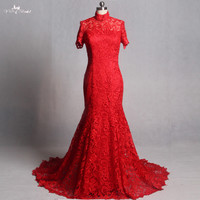 Elegant Red Mermaid Lace Wedding Dresses 2015 High Neck Appliques Bridal Gowns Vestido De Noiva RQ112
