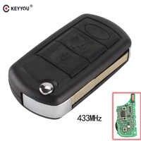 KEYYOU 433MHz 3 boutons Flip télécommande pliante clé télécommande voiture porte-clés pour RANGE ROVER Sport Land Rover Discovery 3