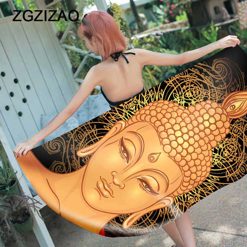 Buddha print Beach Towel women profession Large Microfiber Original square summer Quick drying Serviette De Plage