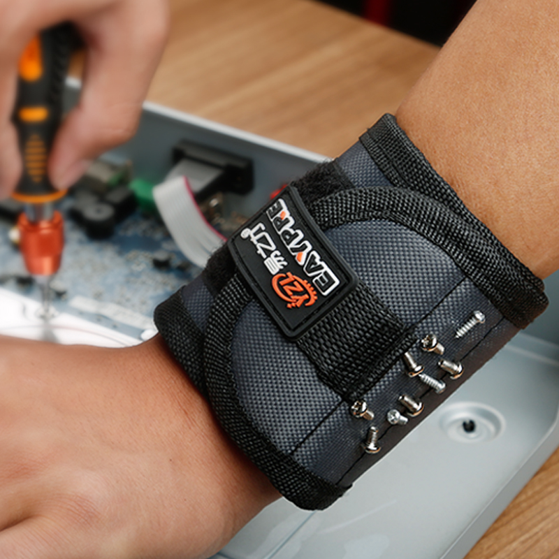 Magnetic Wristband with Strong Magnets for Holding Screws, Nails, Drill Bits Great for Your Tool Bag, Perfect for Auto Repair