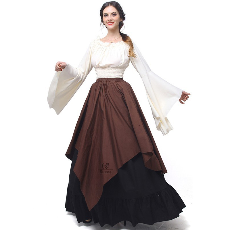2018 New Designer European and American Retro Gothic Puff Sleeve Princess Dress Renaissance Medieval Costumes Perform Clothing
