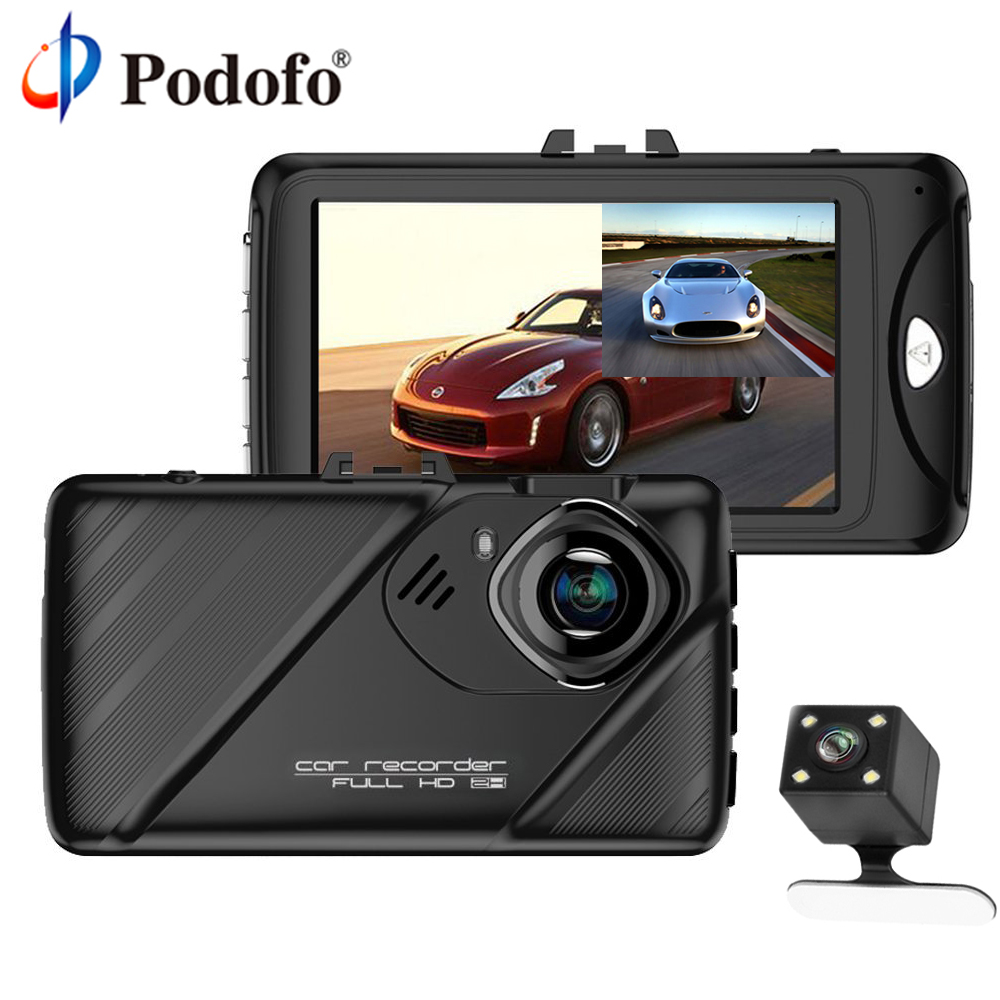 Podofo Car DVR Dual Lens Dash Cam Camera Full HD 1080P 3 IPS Front+ Rear View Backup Camera Night Vision Video Recorder DashCam dual lens car dvr g30b front camera full hd 1080p external rear camera 720 480p h 264 g sensor dash cam two cameras