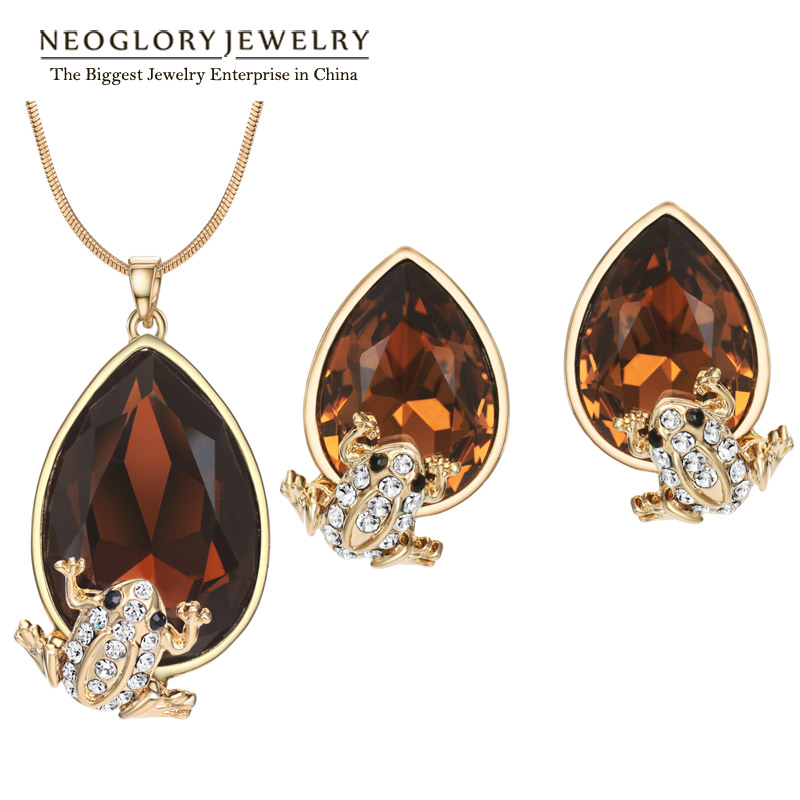 Neoglory Necklace Earrings Costume Jewelry-Sets Charm Crystal Rhinestone Rose-Gold-Color