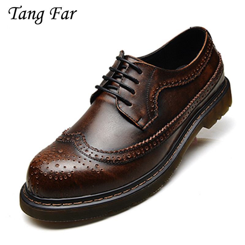 Genuine Leather Oxford Shoes For Men Lace Up Mens Casual Shoes Brand Man Leather Brogue Shoes