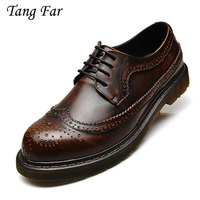 Genuine Leather Oxford Shoes For Men Lace Up Mens Casual Shoes Brand Man Leather Brogue Shoes Moccasins zapatos hombre