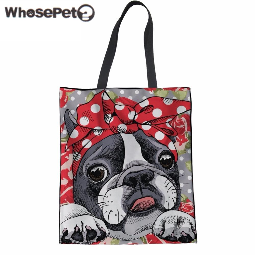 WHOSEPET Women Shoulder Bag Cute 3D Animal Boston Terrier Print Handbag Teenager Girls Daily Large Tote Bag Canvas Beach Bag New