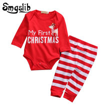 39f3bd0cd6402 Bébé costumes de noël nouveau-né garçon vêtements mon premier noël fille 2  pièces ensemble hauts Pantalon de Barboteuse infantil.
