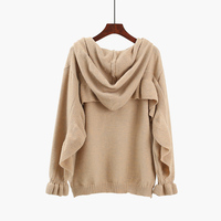Fashion hooded sweater, autumn 2018 new loose pullovers office lady ruffles solid female sweet