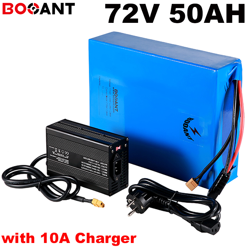 72v 50ah Rechargeable Lithium Battery for <font><b>electric</b></font> <font><b>bicycle</b></font> E-bike 72V 3000w <font><b>5000w</b></font> for Panasonic NCR18650B 3400mAh +10A Charger image