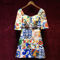Svoryxiu Runway Custom Summer Party Dress Women's Baroque Print Square Collar Short Sleeve Beading Vacation Mini Dresses