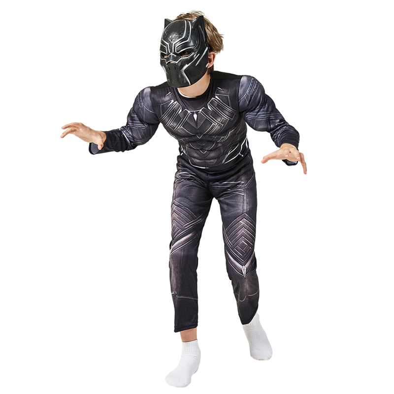 Child Boys Avengers Superhero Black Panther Muscle Cosplay Costume