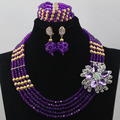 Romantic Purple Crystal African Beads Jewelry Set 5 Layer Dubai Gold Plated Wedding Necklace Jewelry Set Free Shipping WD218
