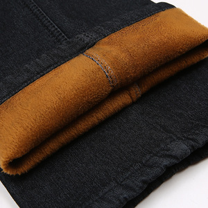 Image 5 - Winter warm with velvet thicken elastic waist middle aged men jeans loose straight casual jeans Male Solid Fleece Denim trousers