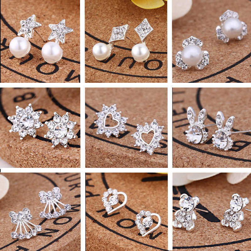 korean style cute Crystal Heart flower pearl small Stud Earrings For Women fashion jewelry Brincos aretes de mujer